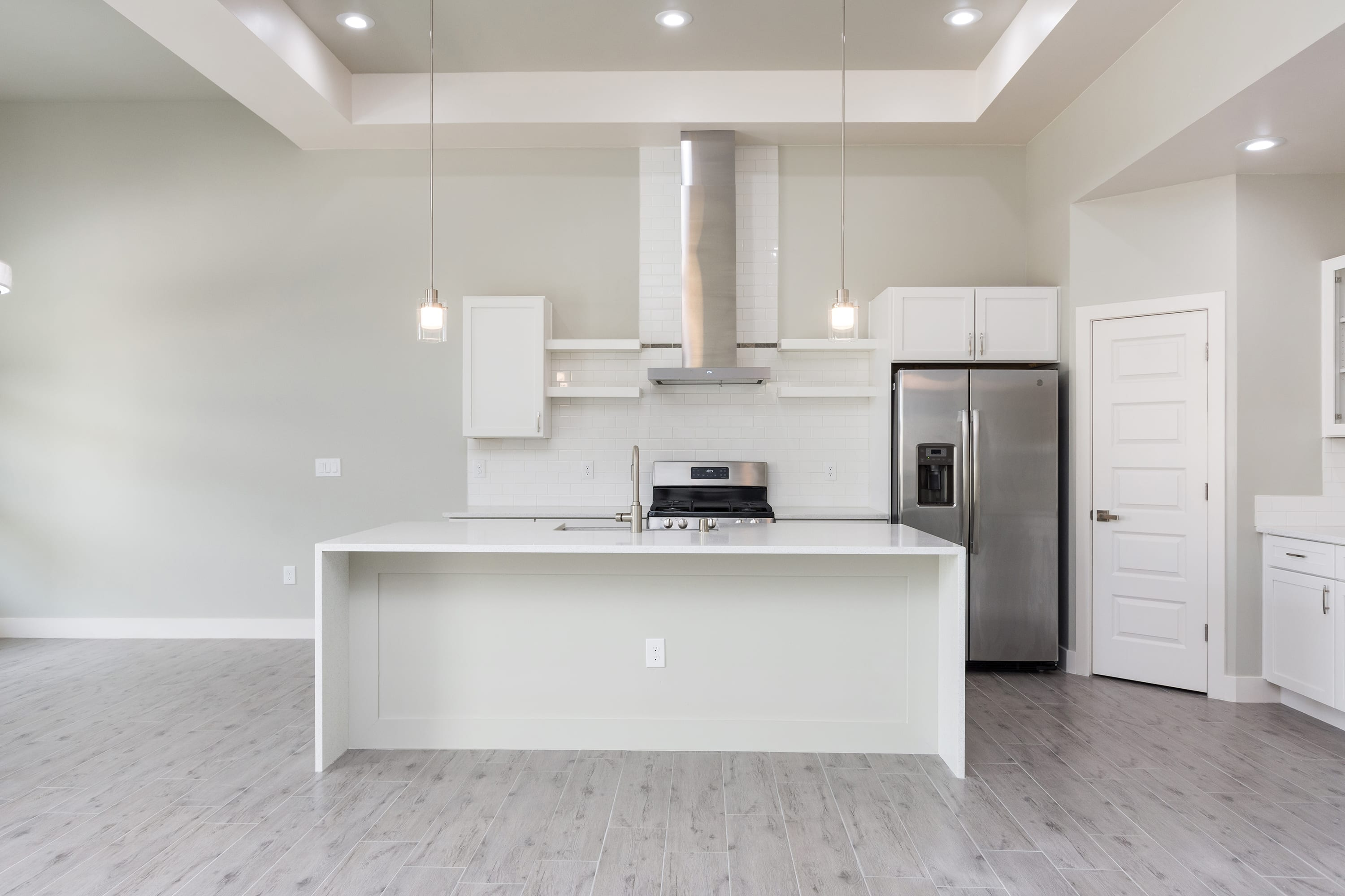 Interior ceiling shot of kitchen in 2884 Maddox contemporary home