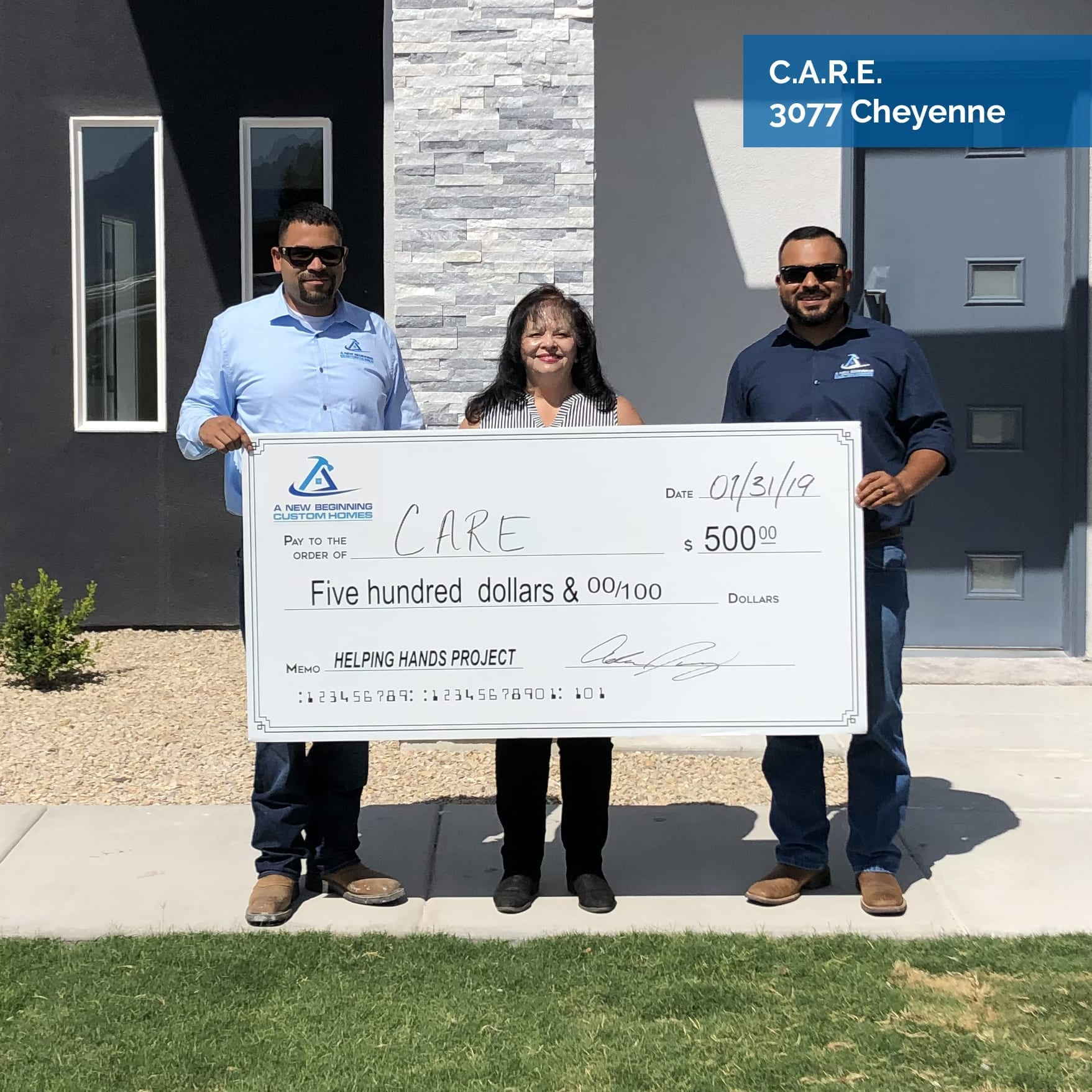 Custom Homes | Charity check for CARE