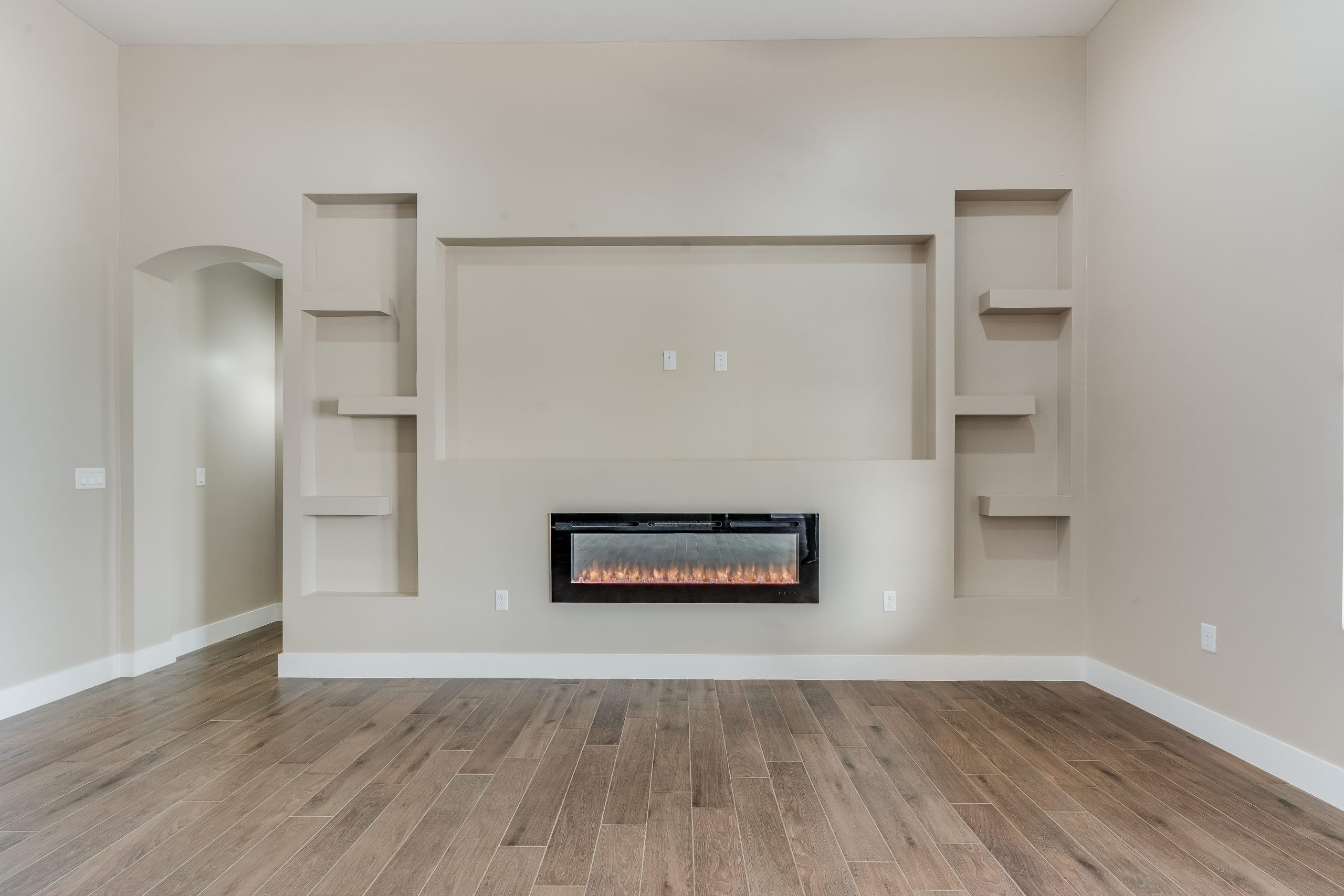 Interior shot of living area and fireplace in 3420 Calle Bedado