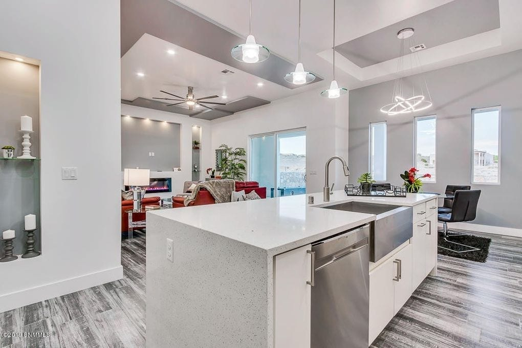 Interior shot of kitchen, living, and dining area in 2190 Pacifico Court