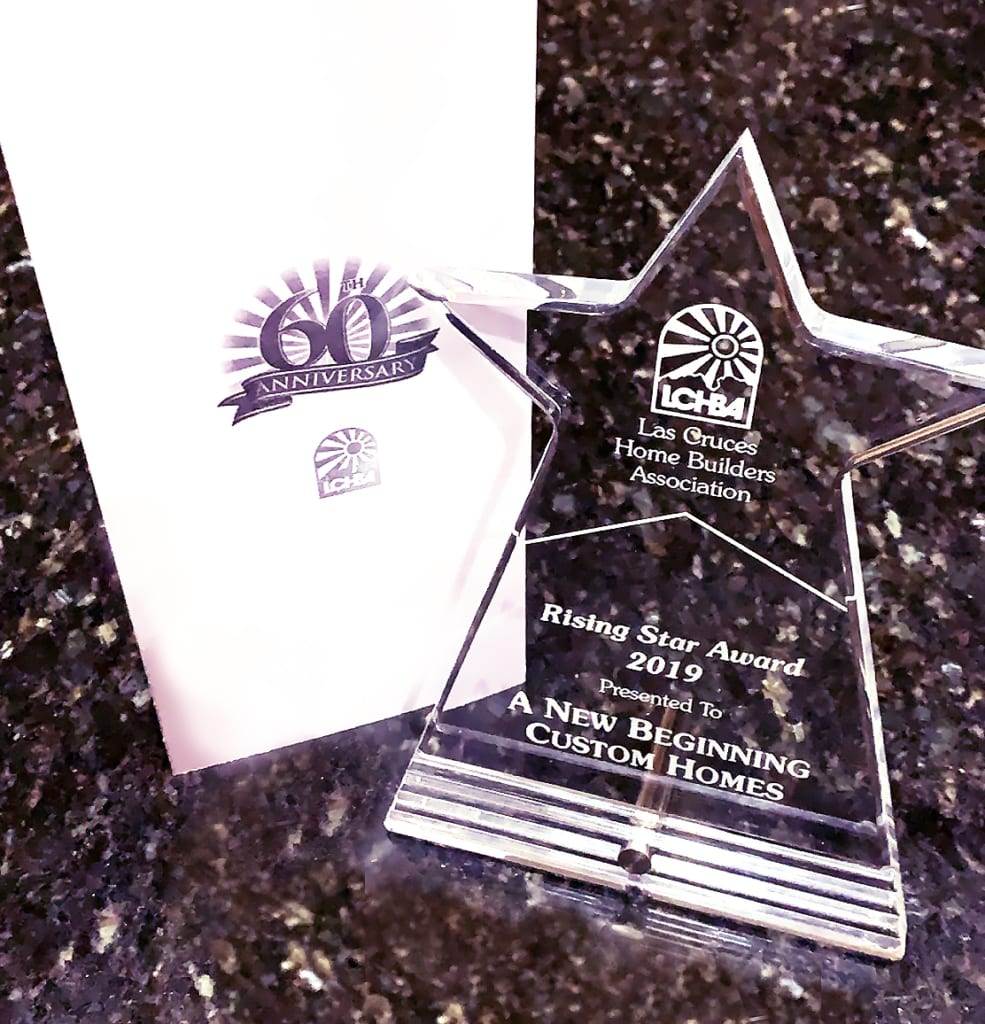 Las Cruces Home Builders Associate Rising Star Award 2019 presented to A New Beginning Custom Homes