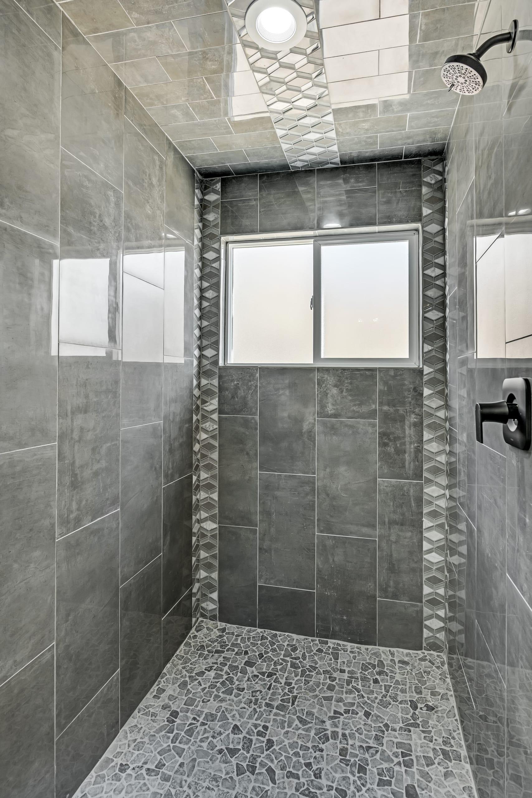 Standing Shower - custom tiles
