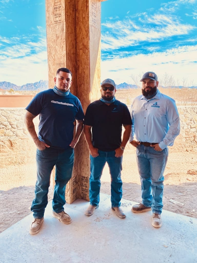 A New Beginnings Construction Crew - Adam Juarez (Middle) and two others